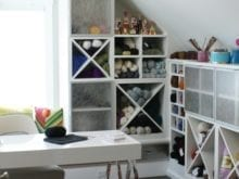 California Closets White Shelving and Cubbies for Craft Room