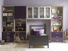 Purple and Light Grey themed Built in Desk and Storage for Children's Room