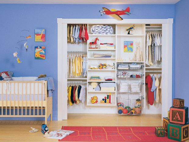 Children's Closet with Built in Baskets Closet Rods and White Shelving