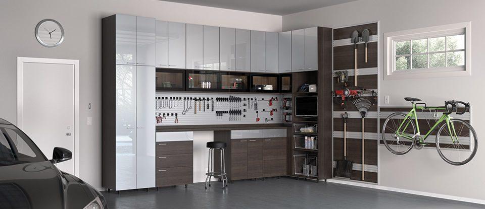 Garage storage cabinets garage organization california for Elevated garage storage