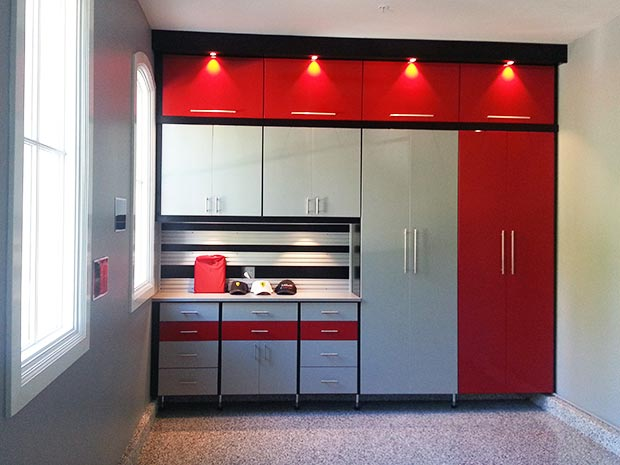 High Gloss Red and Grey Garage Storage with Cabinets Tool Rack and Built in Lighting