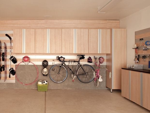 Space saving storage cabinets in garage