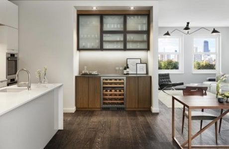 Dark Brown Wine Bar with Glass Display Shelves Cabinets and Glass Fronted Wine Rack