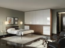 Wardrobe with High Gloss White Cabinets Dark Brown Drawers and Dark Brown Trim