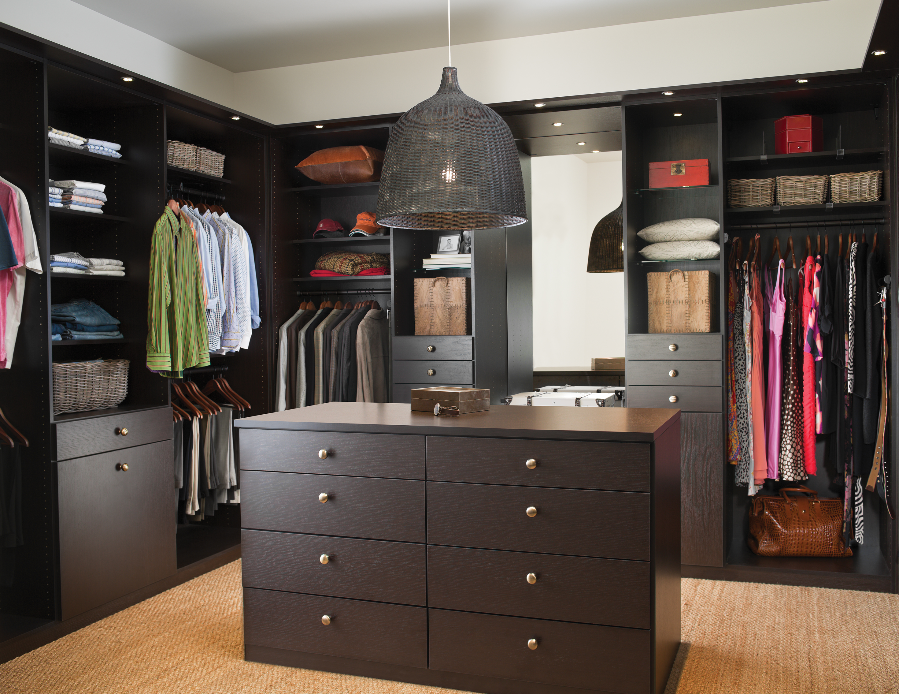 California Closets Los Angeles - Walk in Closet with Custom Cabinetry and LED Lighting