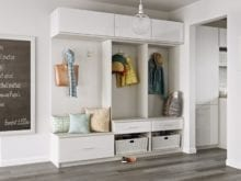 White Entry Way Storage with Shelves Drawers Hanging Hooks and Wicker Baskets