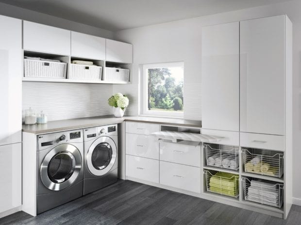 Newport laundry room with white cabinets