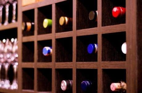 Dark Brown Squared Holed Wine Rack for Wine Bar