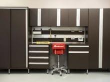 Workbench Storage Cabinets in Garage