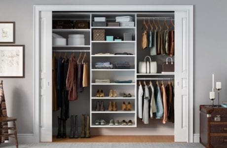 White Reach in Closet with Shelves and Closet Rods