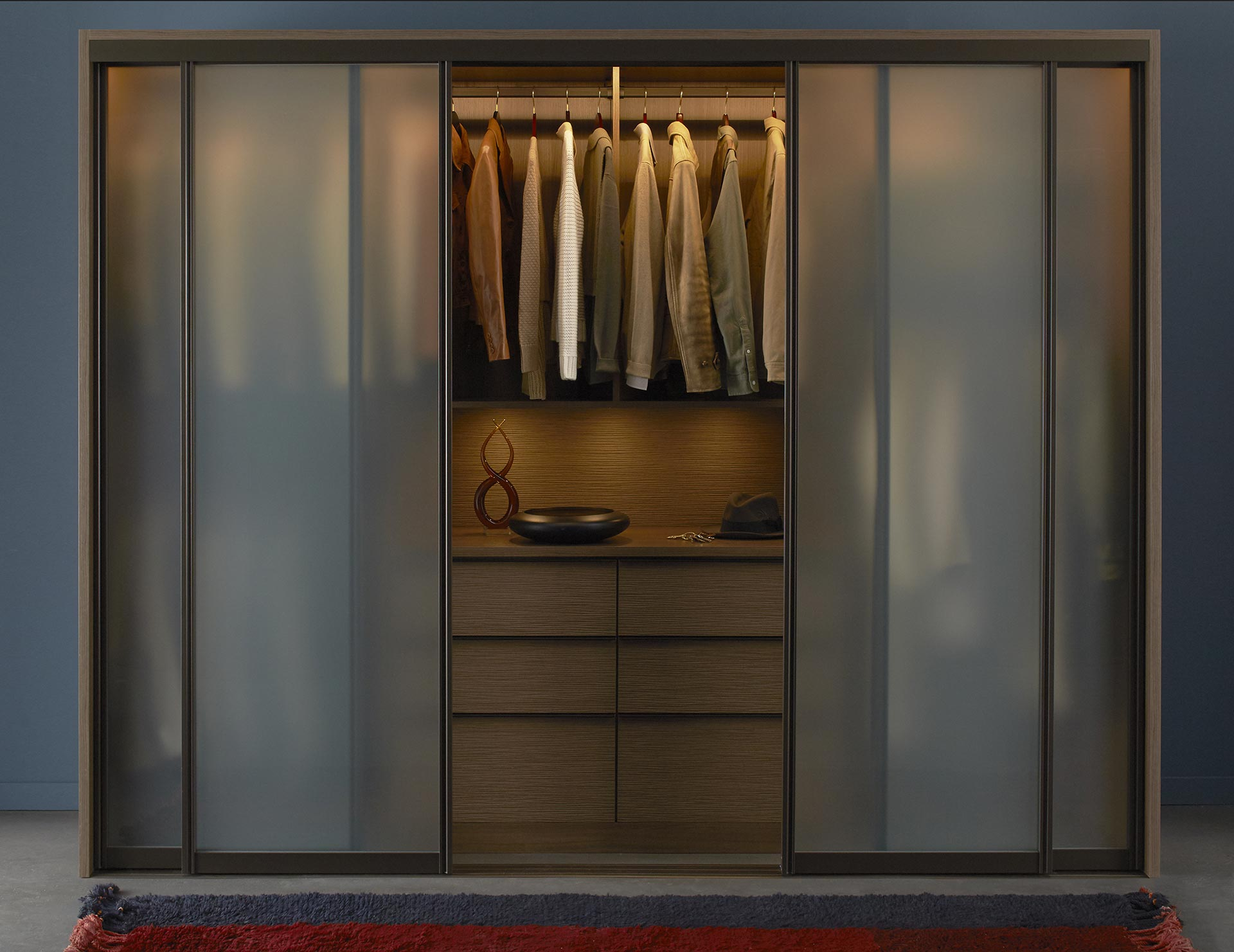 Dark Brown Stand Alone Wardrobe With Drawers Closet Rods and Frosted Glass Doors