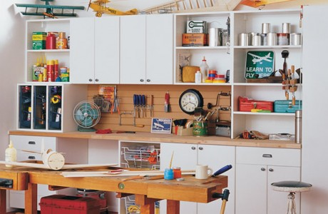 White Garage Storage with Closet Cabinets Shelves Drawers and Light Grain Work Space and Tool Rack