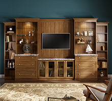Dark Brown Wood Grain Entertainment Center With Shelving Glass Inlay Cabinets and Marble Counter Tops