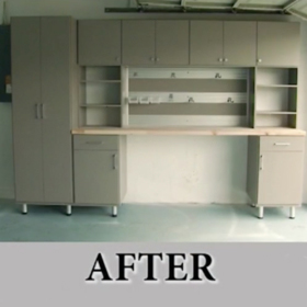After image of grey custom garage redone for Father's day