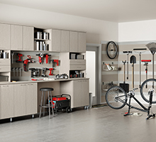 White Garage Storage with Shelving Cabinets Tool and Hanging Racks and Work Space