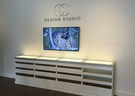 California closets ponte vedra showroom interior with white storage solutions and company logo