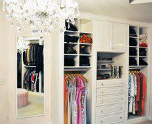 White Walk in Closet with Shelving Drawers Cabinets Closet Rods and Body Length Mirror