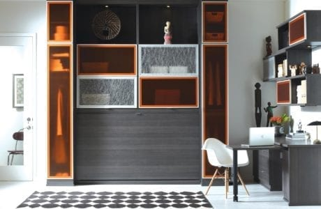 Dark Grey Office With Murphy Bed Built in Desk and Cabinets with Etched glass and Translucent Orange Doors