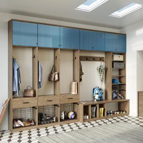 Light Brown Entrance Way Storage With Shelving Coat Hooks Pull out Metal Baskets and Light Blue Wood Grain Cabinet Doors