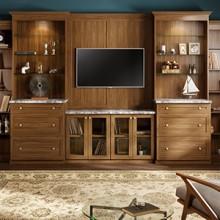 cape-cod-living-room-entertainment-center-lago-sorrento-miter-shaker-glass-inserts-thumb