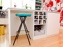 White High Gloss Stand Alone Craft Room Workspace with White Textured Cabinet Door