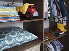 Erica Coffman Designer Gallery Close Up Dark Brown Children's Closet Shelving