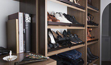 Erica Coffman Designer Gallery Close Up Dark Brown Shoe Rack Shelving