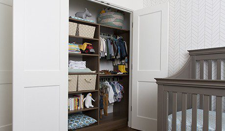 Erica Coffman Designer Gallery Close Up Dark Brown Children's Closet With Shelving Baskets and Closet Rods