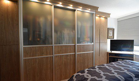 Dark Wood Wardrobe with Built in Lighting and Glass Display Doors