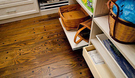 White Wood Grain Pantry Storage Close Up of Pull Out Drawers