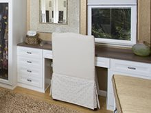 White Built in Desk with Dark Brown Wood Grain Top
