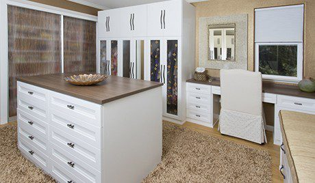 White Walk in Closet With Wardrobe Shelving Stand Alone Dresser Built in Desk and Bench Seating