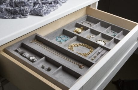 Close Up of Light Grey and Natural Wood Dresser Drawer with Jewelry Drawer Dividers
