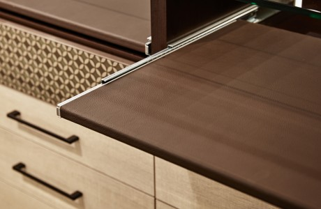 Close Up of Dark Brown Textued Pull Out Closet Racks