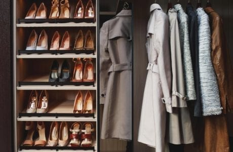Reach in Closet with Shoe Rack Mirrored Cabinet Doors and Black Textured Closet Rod