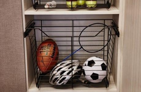 Close Up Image of Slide Out Metal Baskets for Garage Storage
