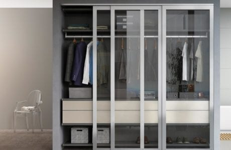 Reach in Grey Closet with Shelving Metal Closet Rods White High Glass Dresser Drawers and Glass and Metal Sliding Doors