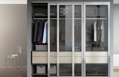 Dark Grey Reach in Closet with Shelving Closet Rods Drawers and Sliding Glass Doors