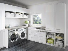 High Gloss White Laundry Storage with Cabinets Drawers Baskets and Foldout Ironing Board