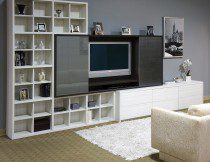 Black and White Wood Grain Entertainment Center with Cabinets Cubbies and Glass Doors