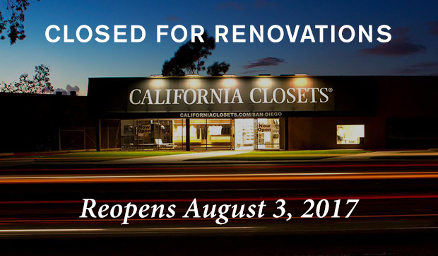 California Closets San Diego Showroom - Reopens August 1st