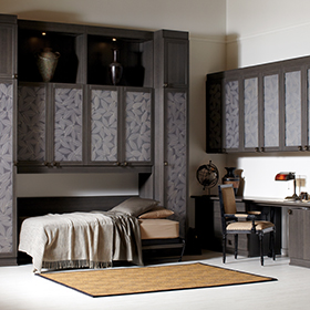 Simon Convertible Murphy Bed pulled out with Lago Milano Grey Finish