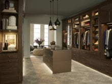 California Closets Walk in Sophisticated Closet Lighted Cabinets