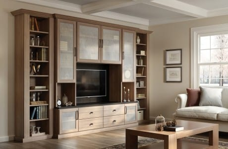 Light Brown Wood Grain Entertainment Center Shelving Drawers and Cabinets with Frosted Glass Doors