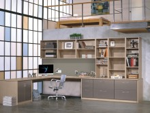 Light Brown Office With Shelves and an L Shaped Desk and Grey Fronted Cabinets and Drawers