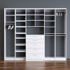 White Stand Alone Reach in Closet with Closet Rods Shelving and Dresser Drawers