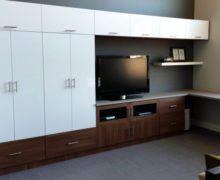 Dark Brown Media Center with White High Gloss Cabinets