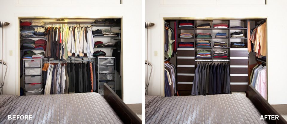 Before & After: A Fashionable + Functional Reach-In Closet
