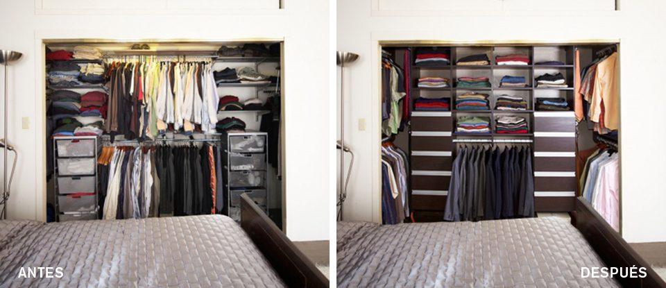 Antes y Después: Un Clóset de Pared de Moda + Funcional