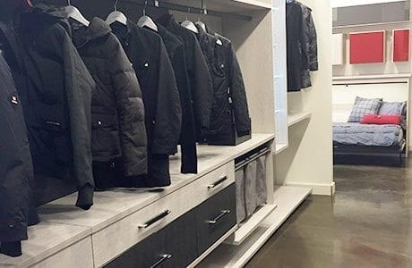 Two Toned Black and Dark Gray Jacket and Drawer Display Unit